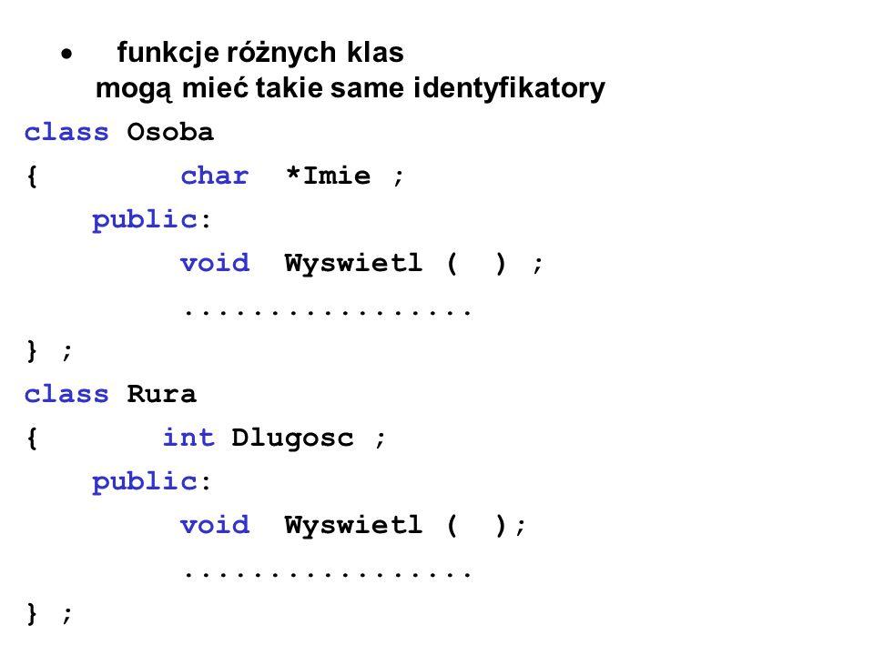 funkcje różnych klas mogą mieć takie same identyfikatory class Osoba { char *Imie ; public: void Wyswietl ( ) ;................. } ; class Rura { int