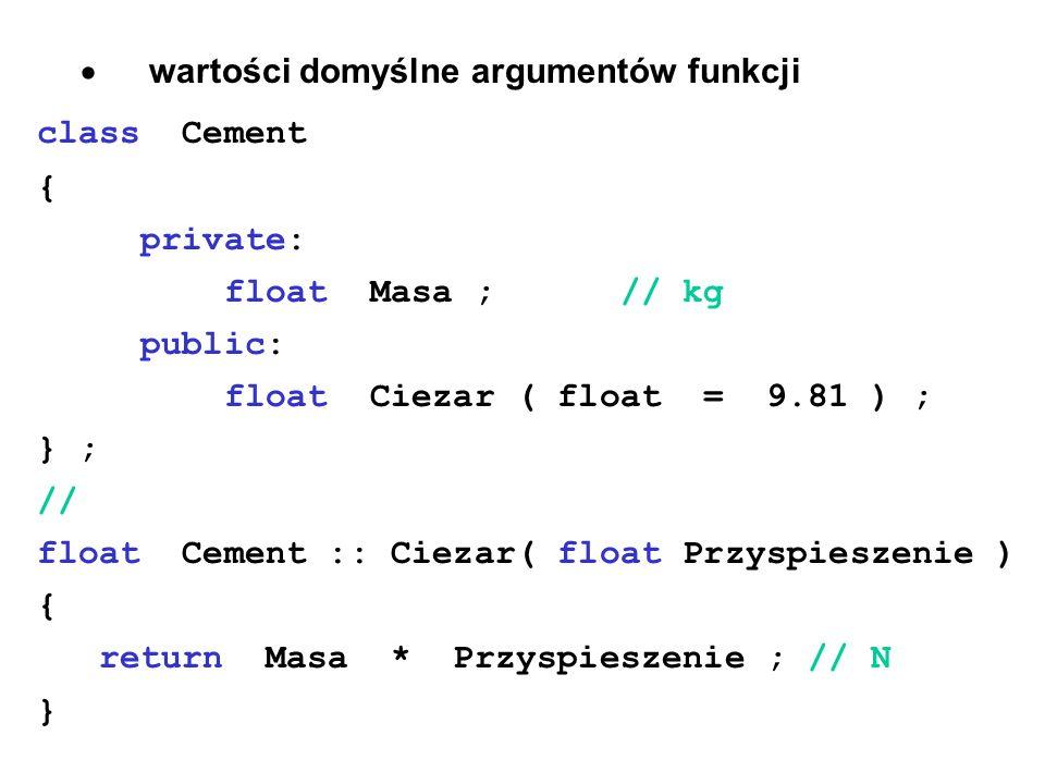wartości domyślne argumentów funkcji class Cement { private: float Masa ; // kg public: float Ciezar ( float = 9.81 ) ; } ; // float Cement :: Ciezar(