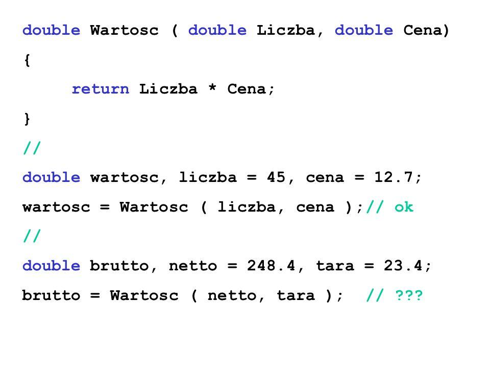 double Wartosc ( double Liczba, double Cena) { return Liczba * Cena; } // double wartosc, liczba = 45, cena = 12.7; wartosc = Wartosc ( liczba, cena )