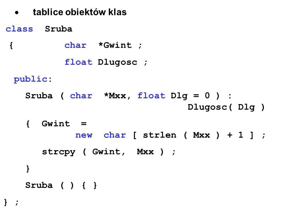 tablice obiektów klas class Sruba { char *Gwint ; float Dlugosc ; public: Sruba ( char *Mxx, float Dlg = 0 ) : Dlugosc( Dlg ) { Gwint = new char [ str
