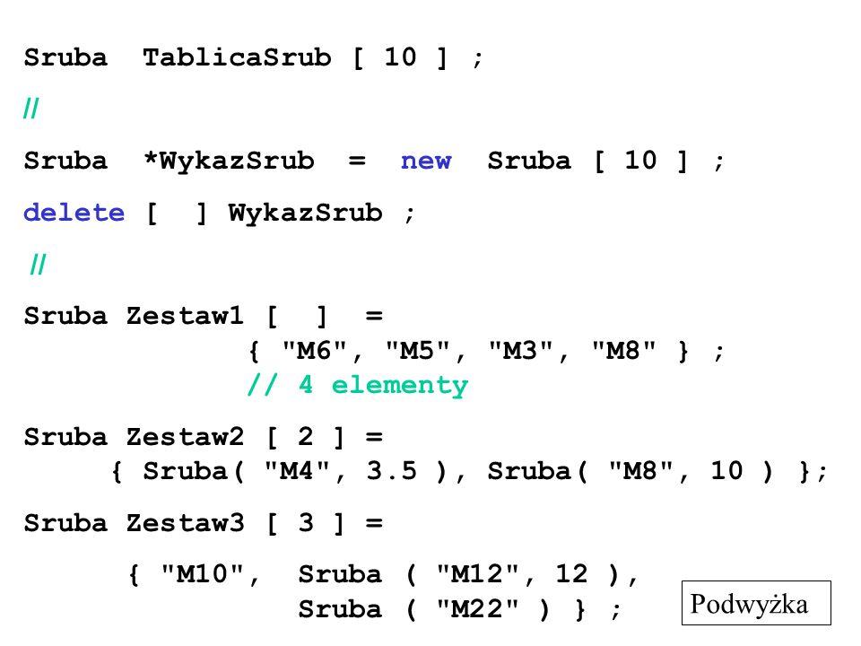 Sruba TablicaSrub [ 10 ] ; // Sruba *WykazSrub = new Sruba [ 10 ] ; delete [ ] WykazSrub ; // Sruba Zestaw1 [ ] = {