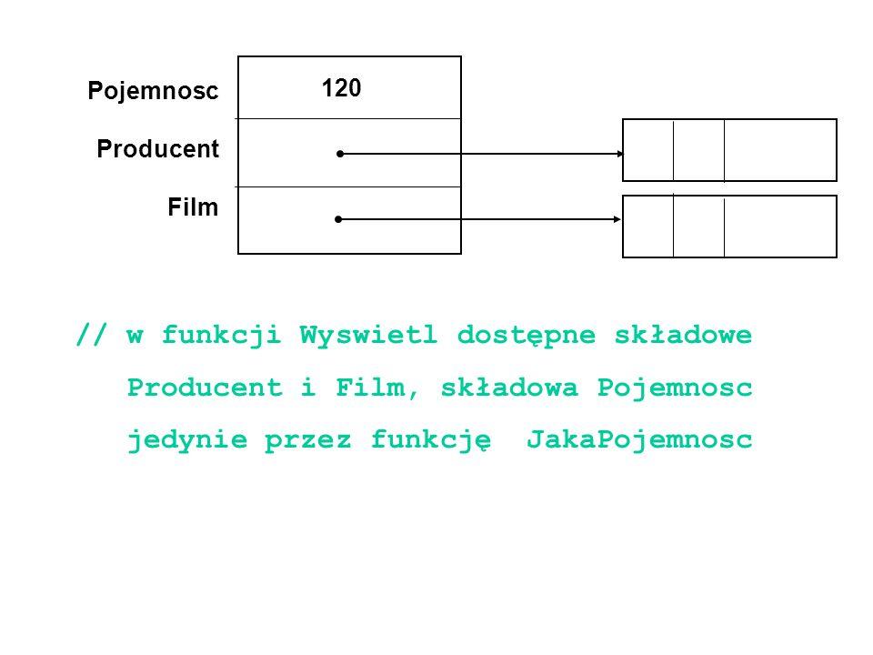 Pojemnosc Producent Film 120 // w funkcji Wyswietl dostępne składowe Producent i Film, składowa Pojemnosc jedynie przez funkcję JakaPojemnosc