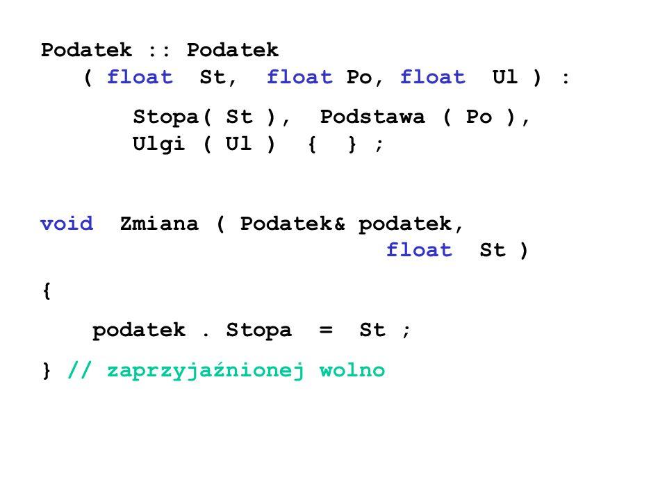 Podatek :: Podatek ( float St, float Po, float Ul ) : Stopa( St ), Podstawa ( Po ), Ulgi ( Ul ) { } ; void Zmiana ( Podatek& podatek, float St ) { pod