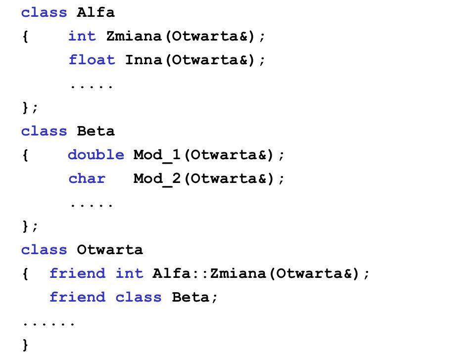 class Alfa { int Zmiana(Otwarta&); float Inna(Otwarta&);..... }; class Beta { double Mod_1(Otwarta&); char Mod_2(Otwarta&);..... }; class Otwarta { fr