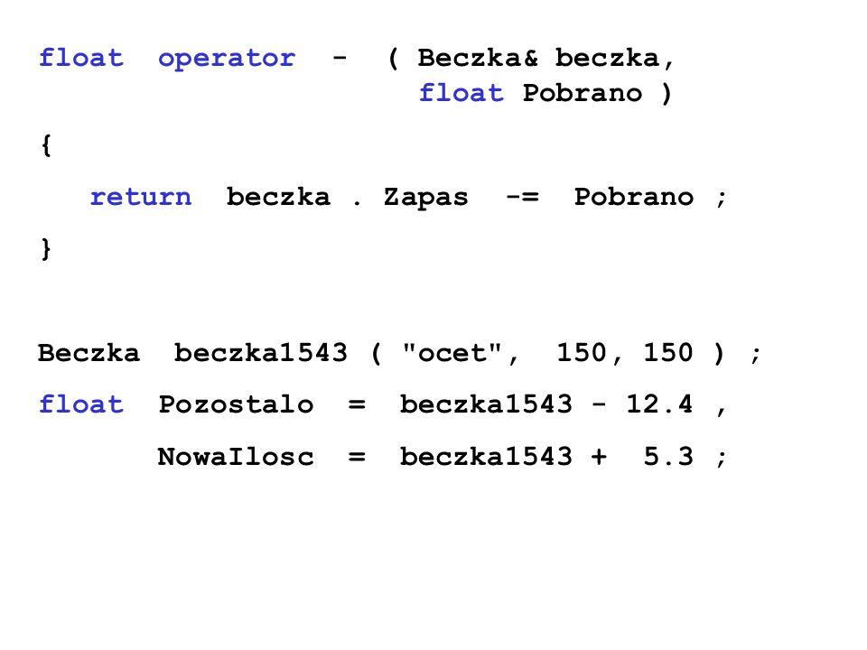 float operator - ( Beczka& beczka, float Pobrano ) { return beczka. Zapas -= Pobrano ; } Beczka beczka1543 (