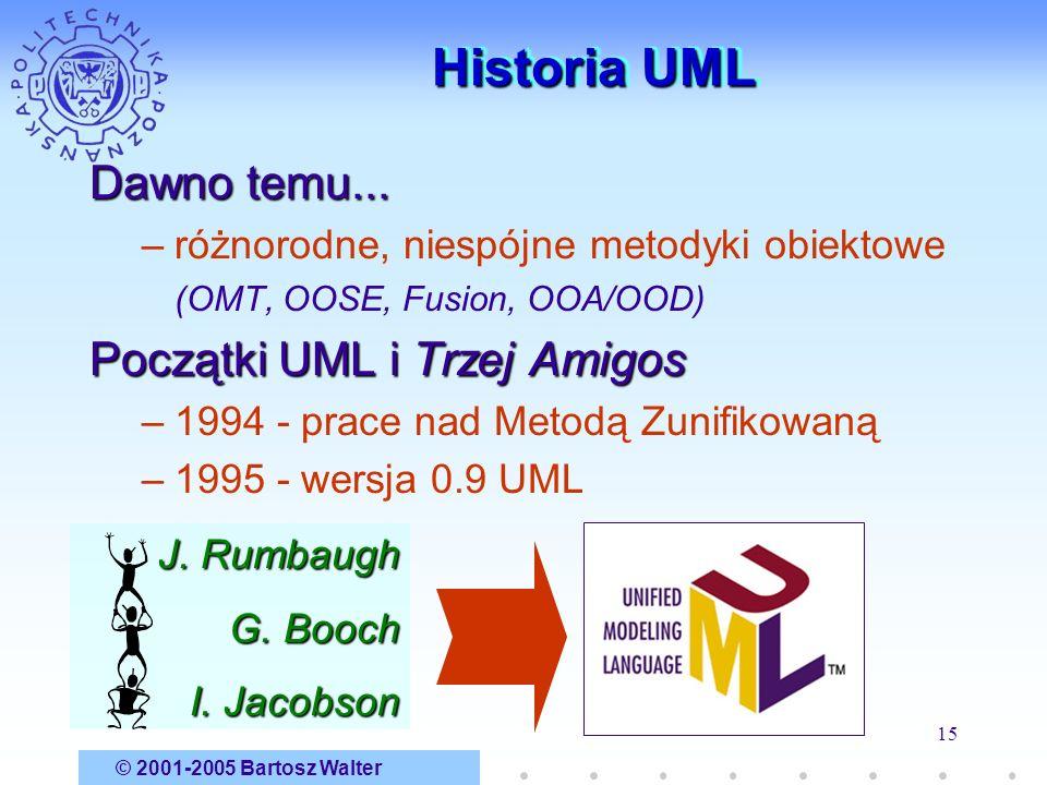 © 2001-2005 Bartosz Walter 15 Historia UML Dawno temu... –różnorodne, niespójne metodyki obiektowe (OMT, OOSE, Fusion, OOA/OOD) Początki UML i Trzej A