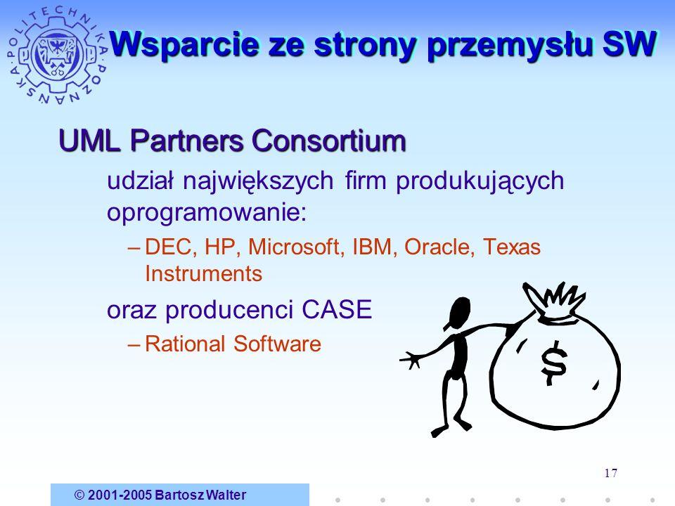 © 2001-2005 Bartosz Walter 17 Wsparcie ze strony przemysłu SW UML Partners Consortium udział największych firm produkujących oprogramowanie: –DEC, HP,