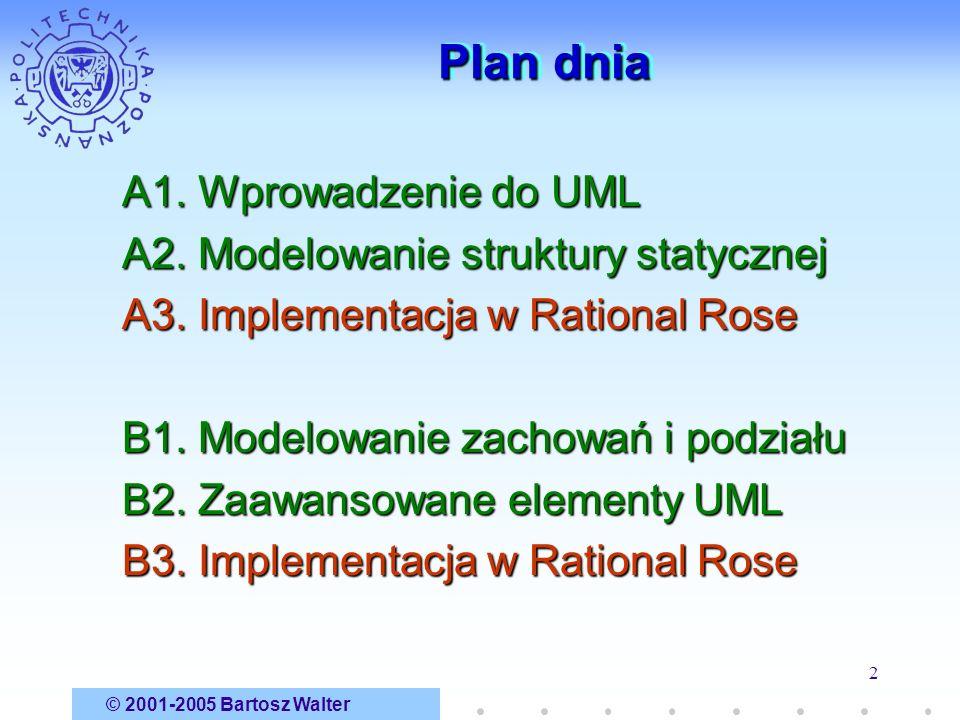 © 2001-2005 Bartosz Walter 2 Plan dnia A1. Wprowadzenie do UML A2. Modelowanie struktury statycznej A3. Implementacja w Rational Rose B1. Modelowanie