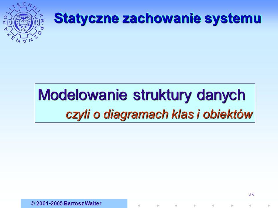 © 2001-2005 Bartosz Walter 29 Statyczne zachowanie systemu Modelowanie struktury danych czyli o diagramach klas i obiektów