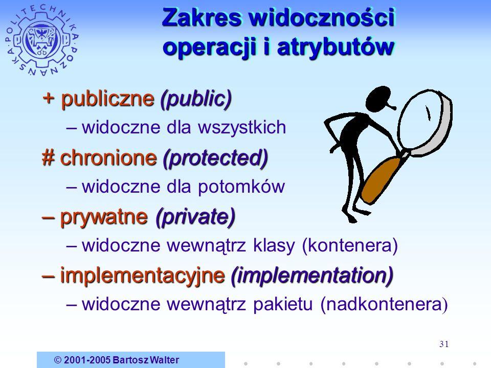 © 2001-2005 Bartosz Walter 31 Zakres widoczności operacji i atrybutów + publiczne (public) –widoczne dla wszystkich # chronione (protected) –widoczne