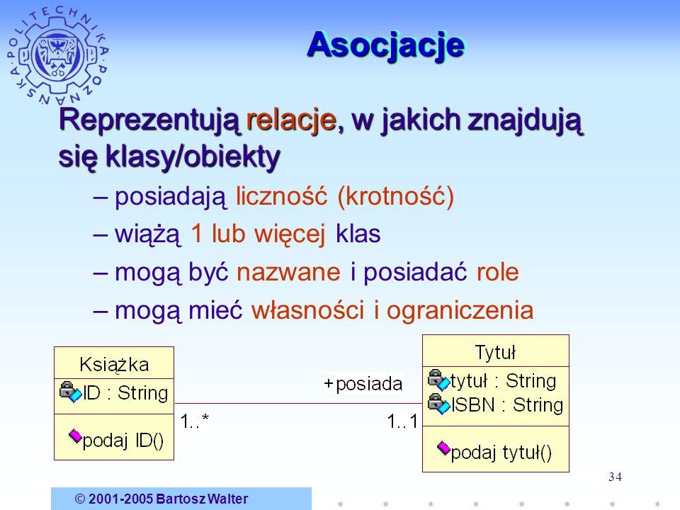 © 2001-2005 Bartosz Walter 34 AsocjacjeAsocjacje Reprezentują relacje, w jakich znajdują się klasy/obiekty –posiadają liczność (krotność) –wiążą 1 lub