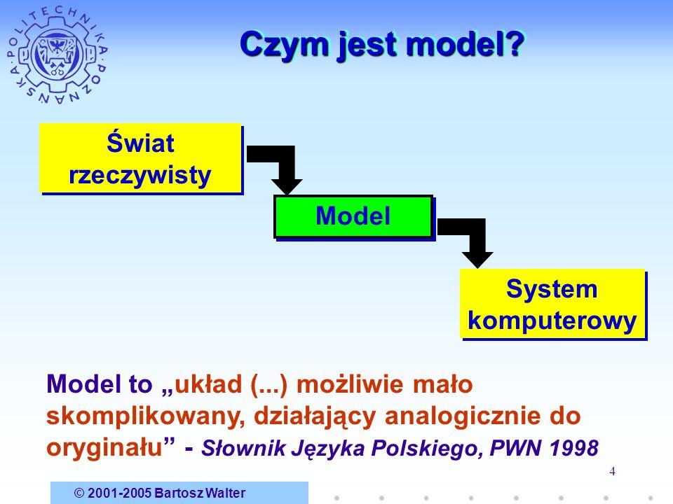 © 2001-2005 Bartosz Walter 4 Czym jest model? Świat rzeczywisty System komputerowy Model to układ (...) możliwie mało skomplikowany, działający analog