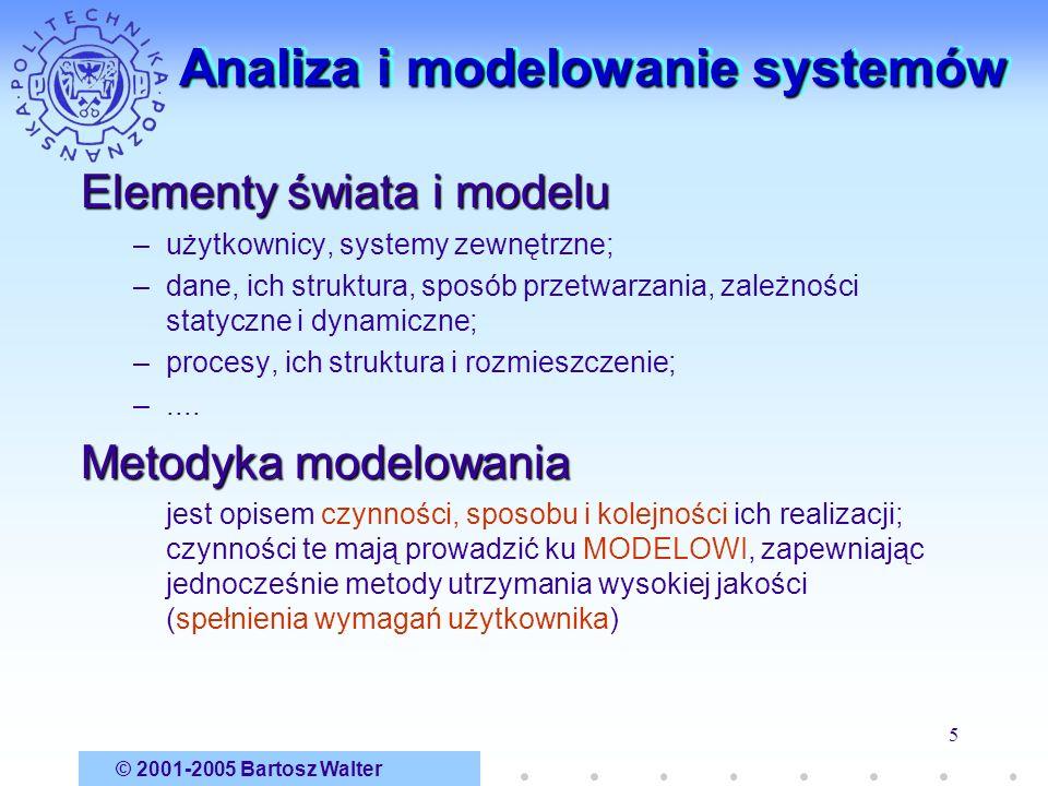 © 2001-2005 Bartosz Walter 5 Analiza i modelowanie systemów Elementy świata i modelu –użytkownicy, systemy zewnętrzne; –dane, ich struktura, sposób pr