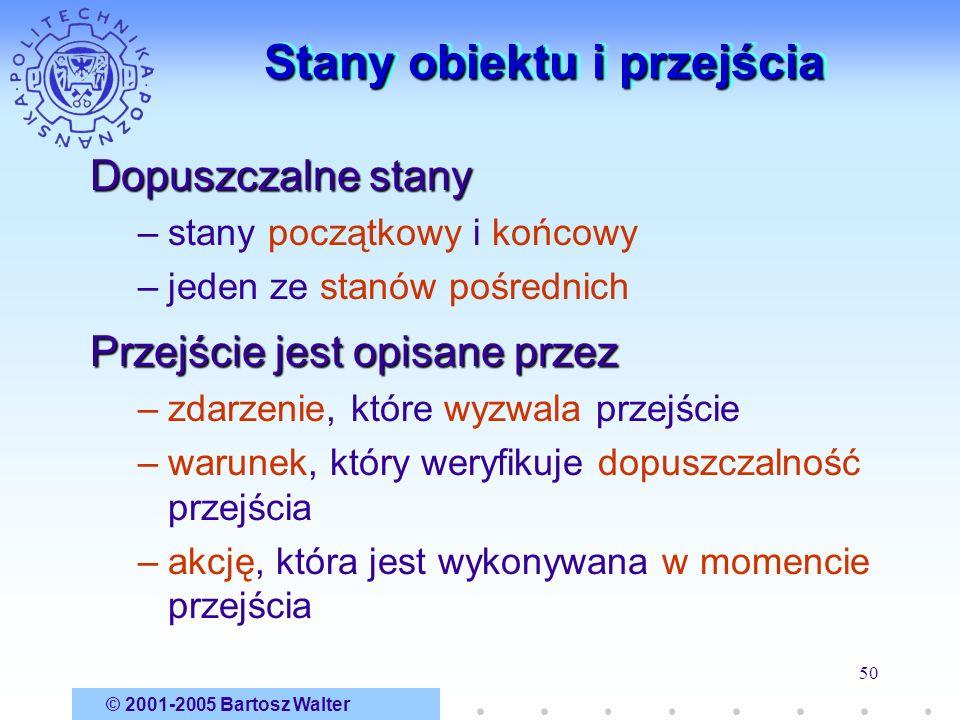 © 2001-2005 Bartosz Walter 50 Stany obiektu i przejścia Dopuszczalne stany –stany początkowy i końcowy –jeden ze stanów pośrednich Przejście jest opis