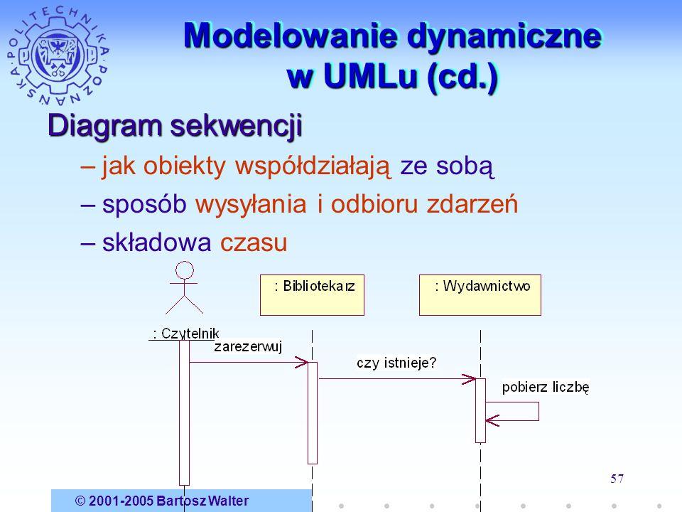 © 2001-2005 Bartosz Walter 57 Modelowanie dynamiczne w UMLu (cd.) Diagram sekwencji –jak obiekty współdziałają ze sobą –sposób wysyłania i odbioru zda