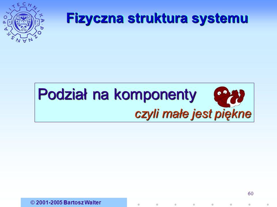 © 2001-2005 Bartosz Walter 60 Fizyczna struktura systemu Podział na komponenty czyli małe jest piękne