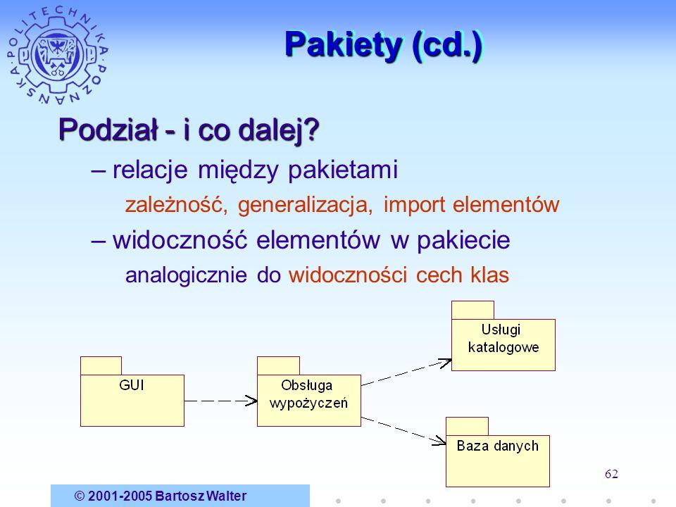 © 2001-2005 Bartosz Walter 62 Pakiety (cd.) Podział - i co dalej? –relacje między pakietami zależność, generalizacja, import elementów –widoczność ele
