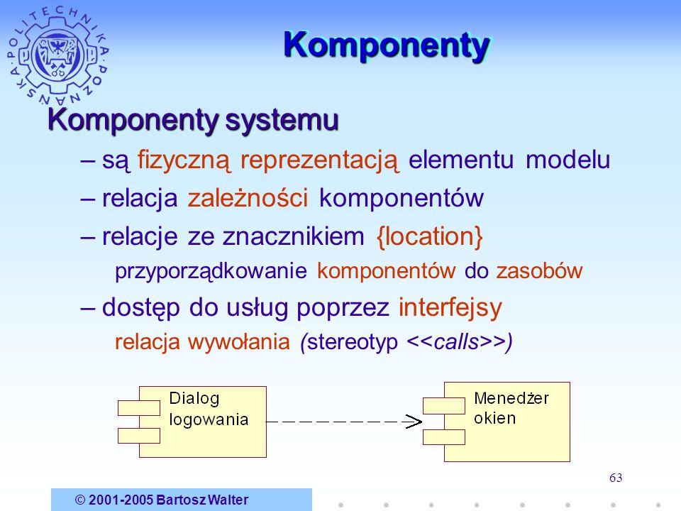 © 2001-2005 Bartosz Walter 63 KomponentyKomponenty Komponenty systemu –są fizyczną reprezentacją elementu modelu –relacja zależności komponentów –rela