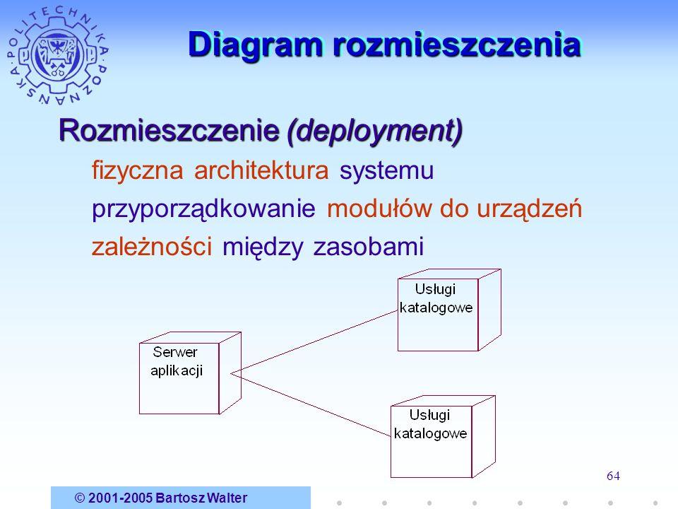 © 2001-2005 Bartosz Walter 64 Diagram rozmieszczenia Rozmieszczenie (deployment) fizyczna architektura systemu przyporządkowanie modułów do urządzeń z