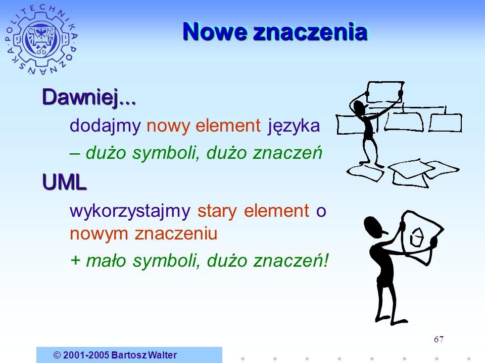 © 2001-2005 Bartosz Walter 67 Nowe znaczenia Dawniej... dodajmy nowy element języka – dużo symboli, dużo znaczeńUML wykorzystajmy stary element o nowy