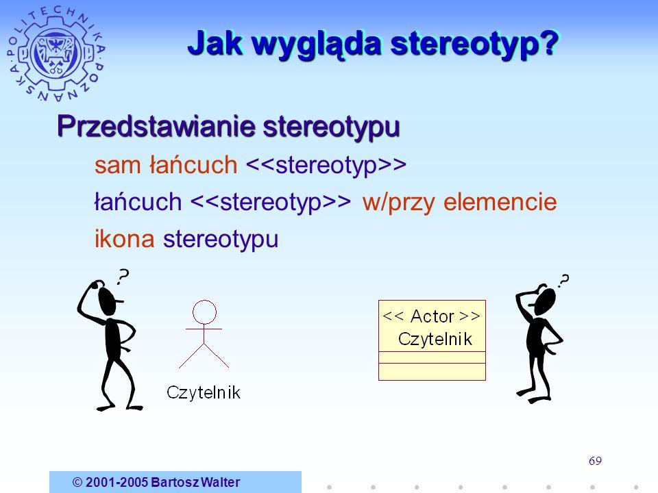 © 2001-2005 Bartosz Walter 69 Jak wygląda stereotyp? Przedstawianie stereotypu sam łańcuch > łańcuch > w/przy elemencie ikona stereotypu