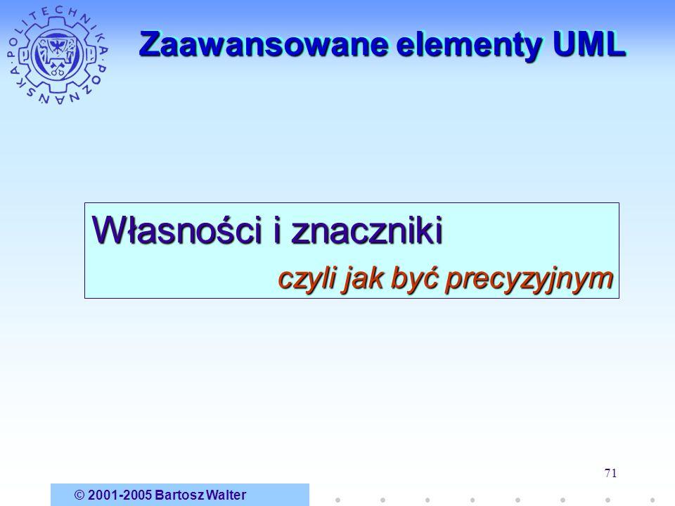 © 2001-2005 Bartosz Walter 71 Zaawansowane elementy UML Własności i znaczniki czyli jak być precyzyjnym