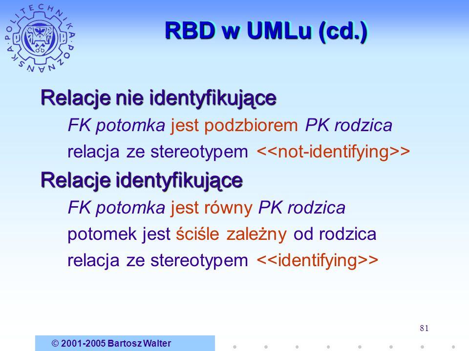© 2001-2005 Bartosz Walter 81 RBD w UMLu (cd.) Relacje nie identyfikujące FK potomka jest podzbiorem PK rodzica relacja ze stereotypem > Relacje ident