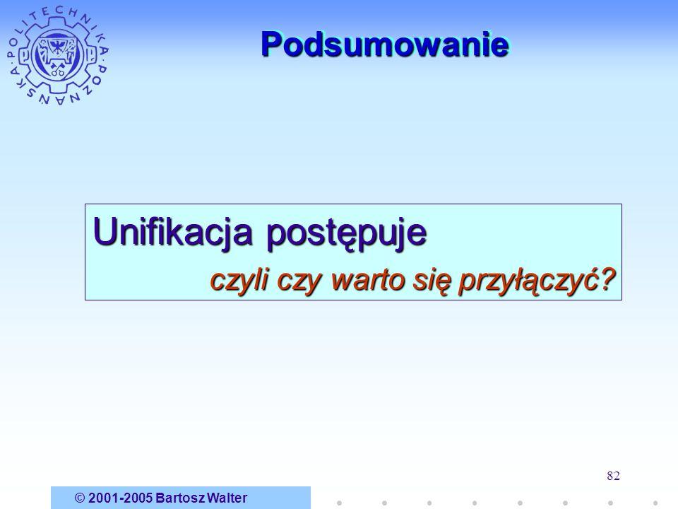 © 2001-2005 Bartosz Walter 82 PodsumowaniePodsumowanie Unifikacja postępuje czyli czy warto się przyłączyć?