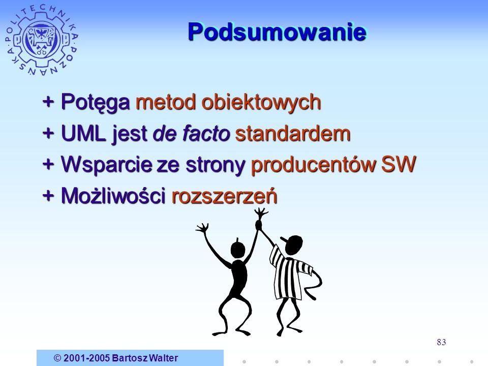 © 2001-2005 Bartosz Walter 83 PodsumowaniePodsumowanie + Potęga metod obiektowych + UML jest de facto standardem + Wsparcie ze strony producentów SW +