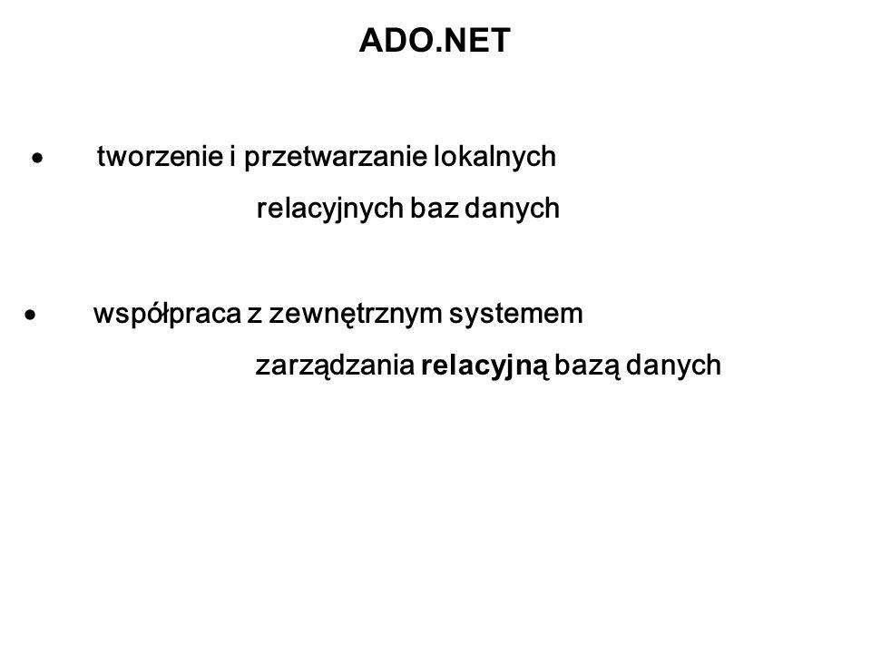 ADO.NET tworzenie i przetwarzanie lokalnych relacyjnych baz danych współpraca z zewnętrznym systemem zarządzania relacyjną bazą danych
