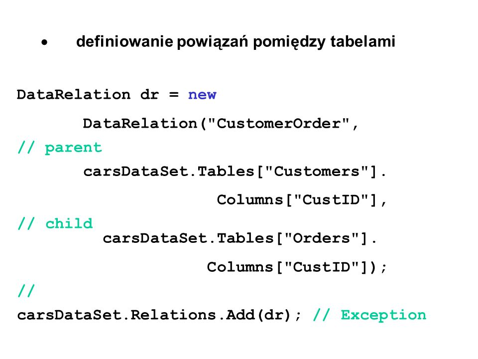 dr = new DataRelation( InventoryOrder , carsDataSet.Tables[ Inventory ].