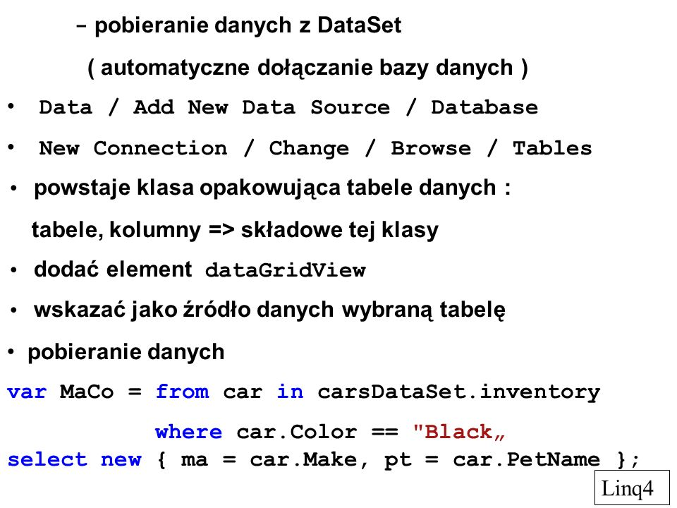 Przetwarzanie plików XML wyczytywanie i zapis plików XML a) serializacja using System.Xml.Serialization; // [Serializable] public class Disk {public string Make ; [NonSerialized] public int something ; public bool SATA; }