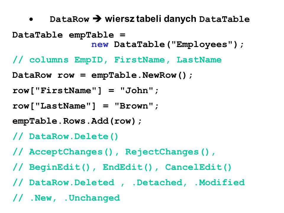 DataRow wiersz tabeli danych DataTable DataTable empTable = new DataTable(