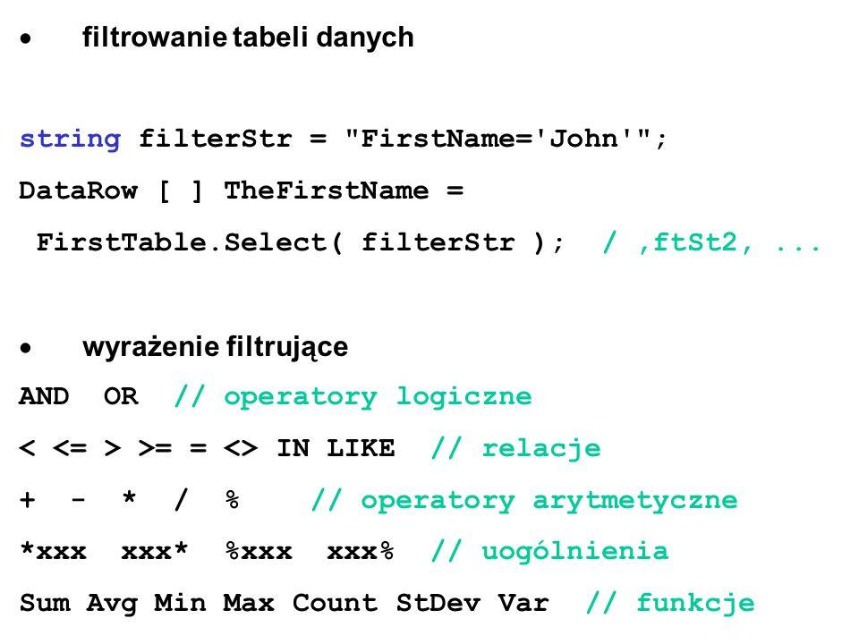 filtrowanie tabeli danych string filterStr =