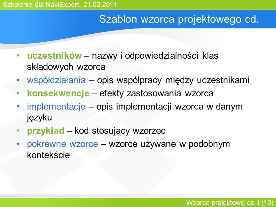 Szkolenie dla NaviExpert, 21.02.2011 Wzorce projektowe cz. I (10) Szablon wzorca projektowego cd. uczestników – nazwy i odpowiedzialności klas składow