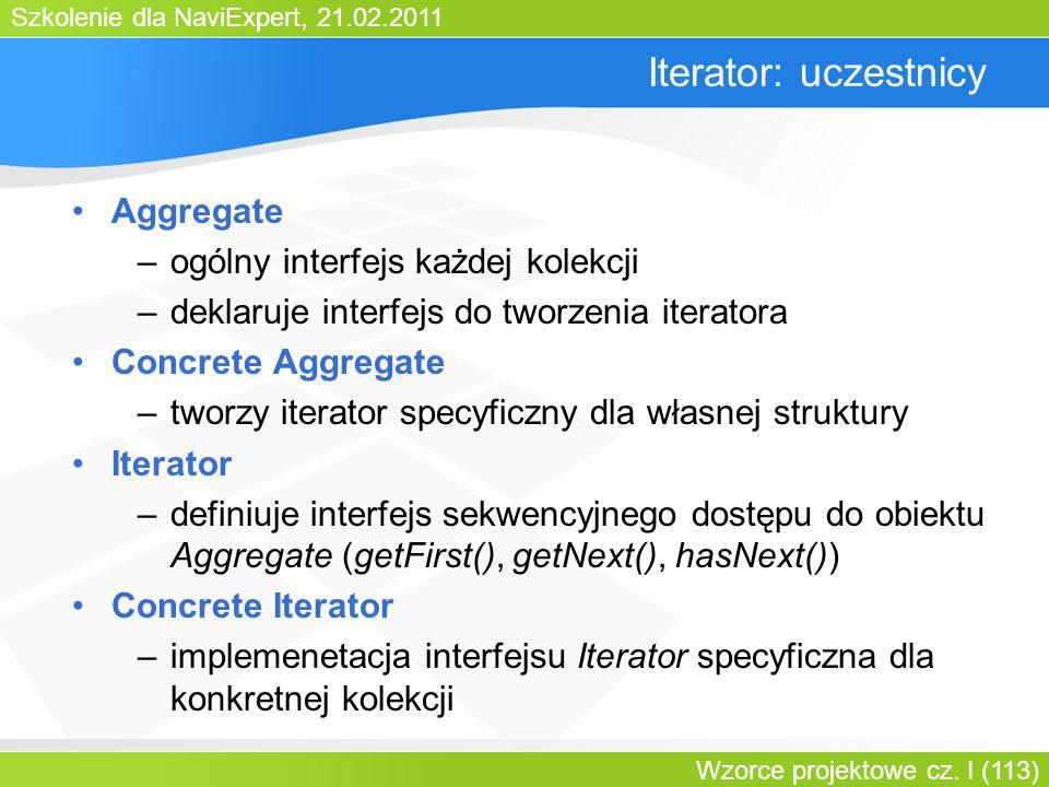 Szkolenie dla NaviExpert, 21.02.2011 Wzorce projektowe cz. I (113) Iterator: uczestnicy Aggregate –ogólny interfejs każdej kolekcji –deklaruje interfe