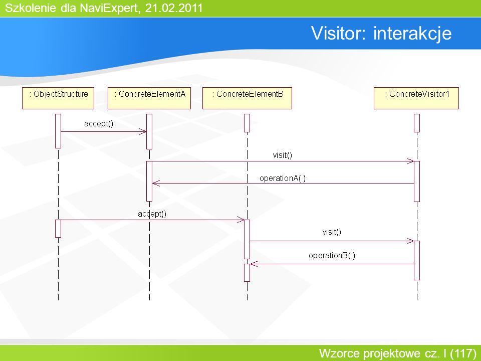 Szkolenie dla NaviExpert, 21.02.2011 Wzorce projektowe cz. I (117) Visitor: interakcje