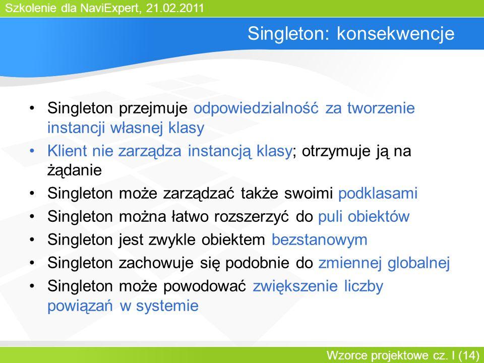 Szkolenie dla NaviExpert, 21.02.2011 Wzorce projektowe cz. I (14) Singleton: konsekwencje Singleton przejmuje odpowiedzialność za tworzenie instancji
