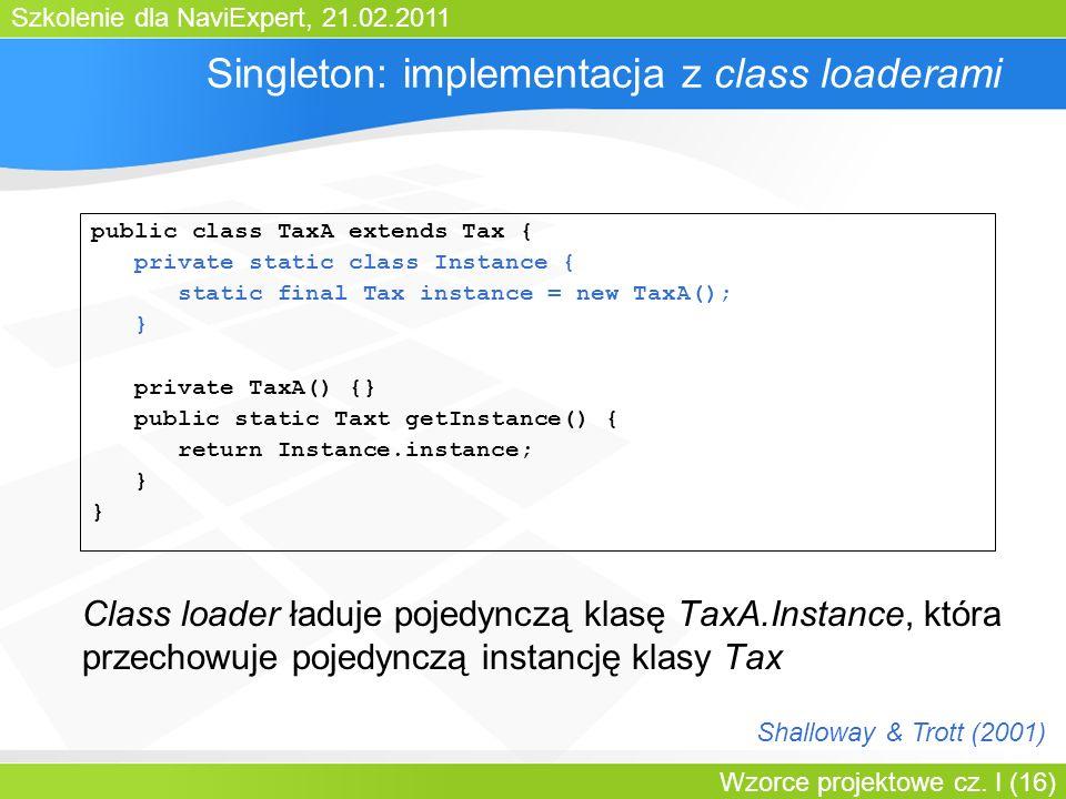 Szkolenie dla NaviExpert, 21.02.2011 Wzorce projektowe cz. I (16) Singleton: implementacja z class loaderami Class loader ładuje pojedynczą klasę TaxA