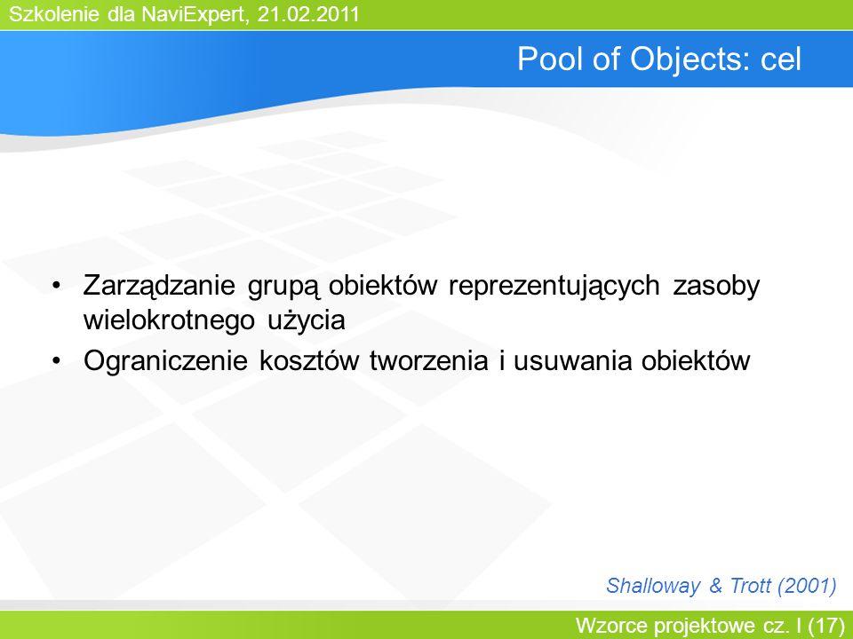 Szkolenie dla NaviExpert, 21.02.2011 Wzorce projektowe cz. I (17) Pool of Objects: cel Zarządzanie grupą obiektów reprezentujących zasoby wielokrotneg