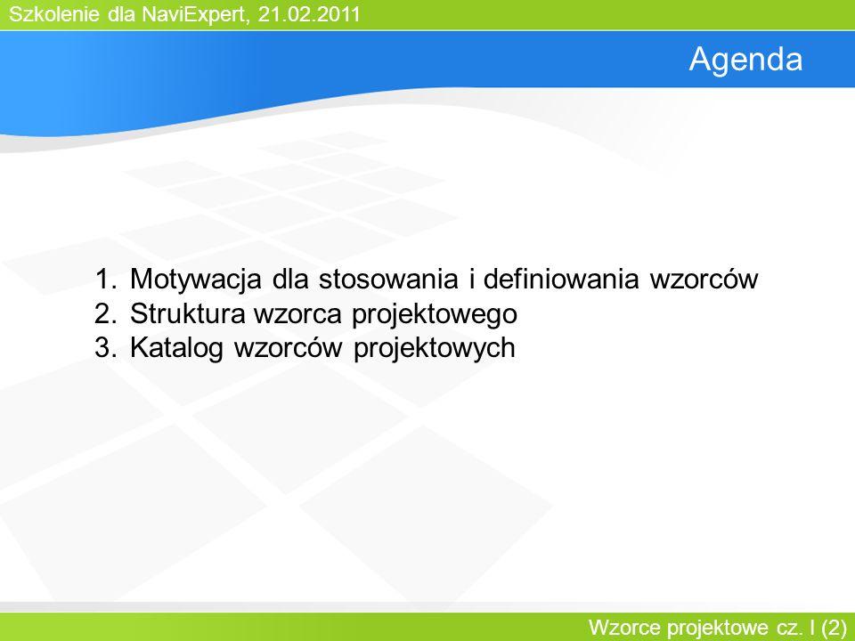 Szkolenie dla NaviExpert, 21.02.2011 Wzorce projektowe cz. I (2) Agenda 1.Motywacja dla stosowania i definiowania wzorców 2.Struktura wzorca projektow