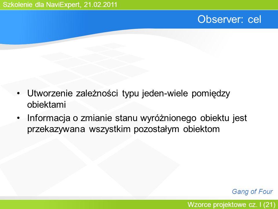 Szkolenie dla NaviExpert, 21.02.2011 Wzorce projektowe cz. I (21) Observer: cel Utworzenie zależności typu jeden-wiele pomiędzy obiektami Informacja o