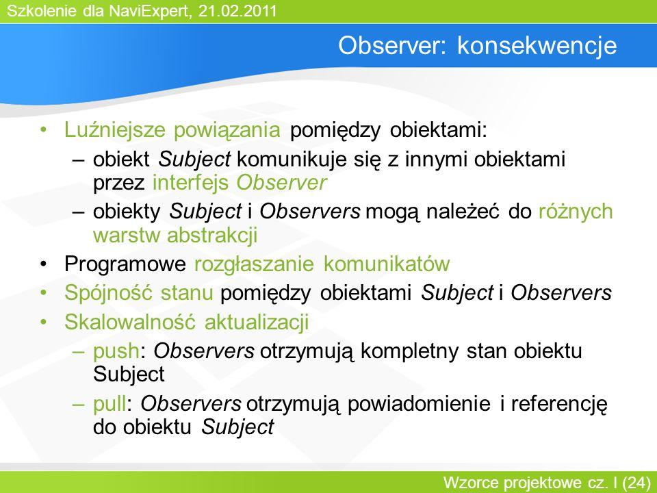 Szkolenie dla NaviExpert, 21.02.2011 Wzorce projektowe cz. I (24) Observer: konsekwencje Luźniejsze powiązania pomiędzy obiektami: –obiekt Subject kom