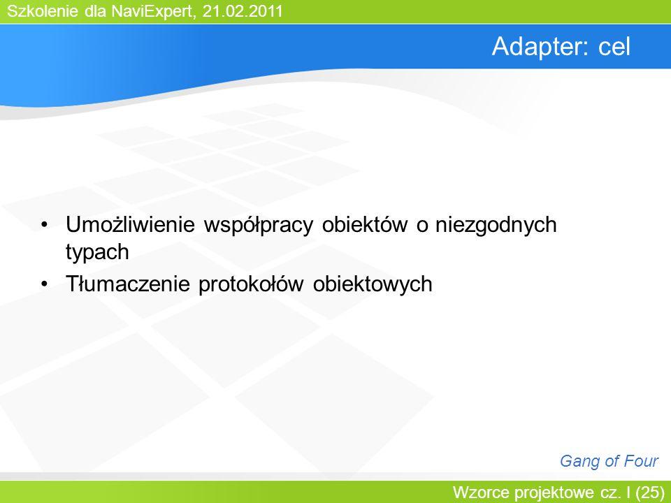 Szkolenie dla NaviExpert, 21.02.2011 Wzorce projektowe cz. I (25) Adapter: cel Umożliwienie współpracy obiektów o niezgodnych typach Tłumaczenie proto