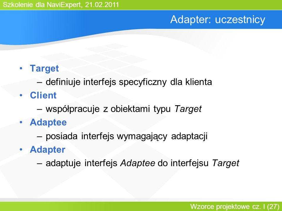 Szkolenie dla NaviExpert, 21.02.2011 Wzorce projektowe cz. I (27) Adapter: uczestnicy Target –definiuje interfejs specyficzny dla klienta Client –wspó