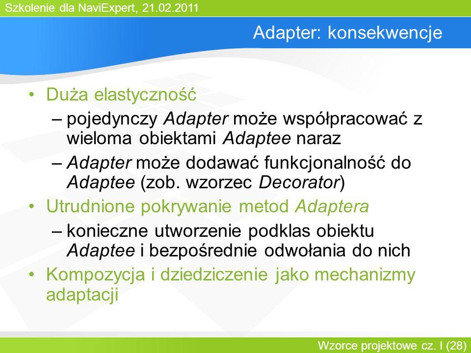 Szkolenie dla NaviExpert, 21.02.2011 Wzorce projektowe cz. I (28) Adapter: konsekwencje Duża elastyczność –pojedynczy Adapter może współpracować z wie