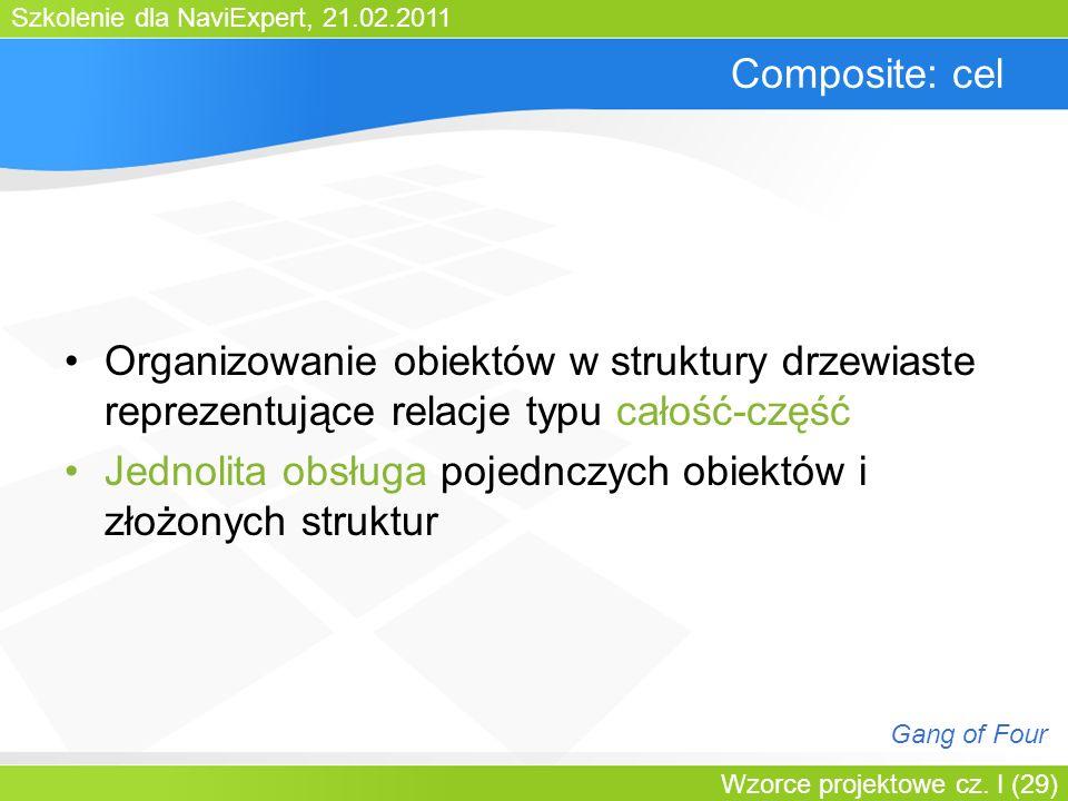 Szkolenie dla NaviExpert, 21.02.2011 Wzorce projektowe cz. I (29) Composite: cel Organizowanie obiektów w struktury drzewiaste reprezentujące relacje
