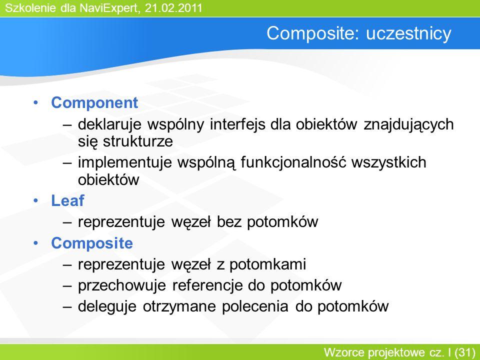 Szkolenie dla NaviExpert, 21.02.2011 Wzorce projektowe cz. I (31) Composite: uczestnicy Component –deklaruje wspólny interfejs dla obiektów znajdujący