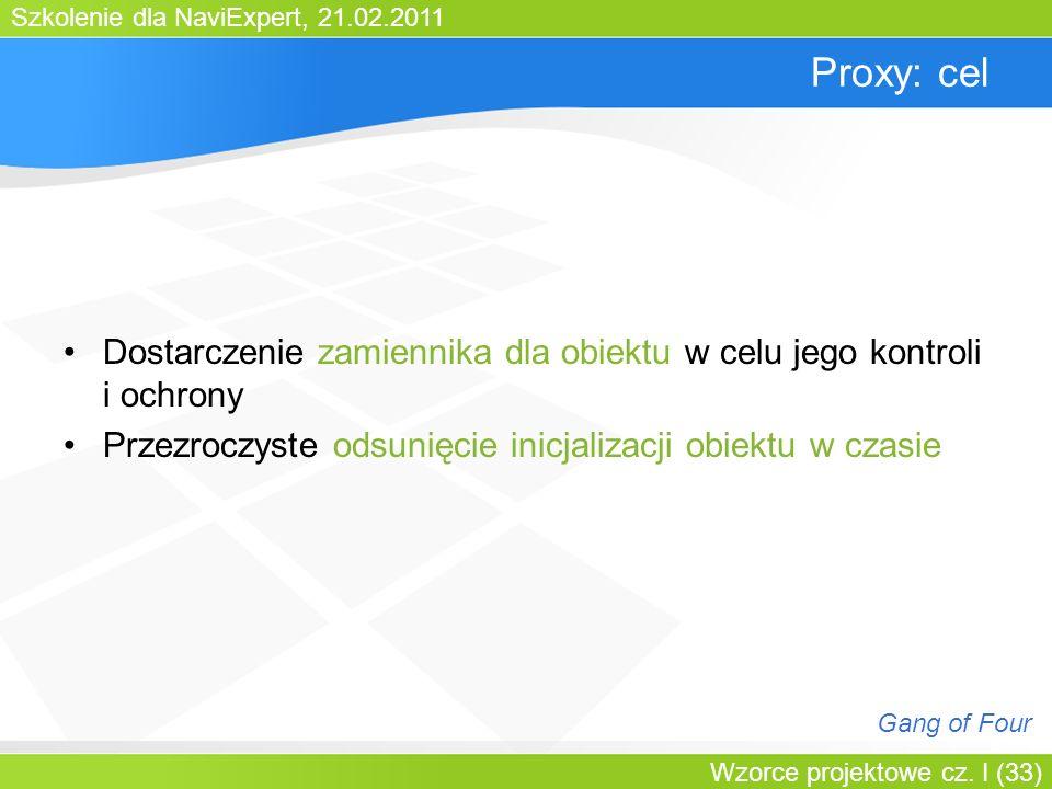 Szkolenie dla NaviExpert, 21.02.2011 Wzorce projektowe cz. I (33) Proxy: cel Dostarczenie zamiennika dla obiektu w celu jego kontroli i ochrony Przezr