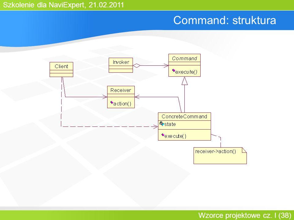 Szkolenie dla NaviExpert, 21.02.2011 Wzorce projektowe cz. I (38) Command: struktura